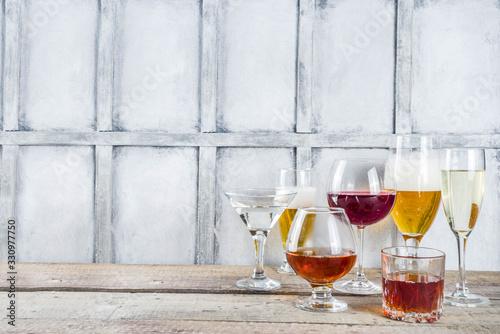 Obraz Selection of different alcoholic drinks - fototapety do salonu
