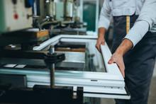 Aluminium And PVC Industry Worker Making PVC Or Aluminium Frames For Windows And Doors