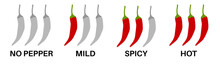 Spicy Chili Pepper Level Labels.  Spice Marks, No Pepper, Mild, Hot Food. Asian And Mexican Kitchen Icons. Isolated Vegetables. Vector Illustration.