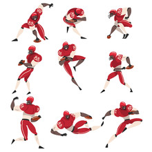 Collection Of American Football Players, Male Athlete Characters In Red Sports Uniform And Protective Helmets In Action Vector Illustration
