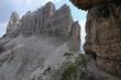 Via ferrata - iron path called Innerkofler, Mount Paterno, Dolomites, Italy