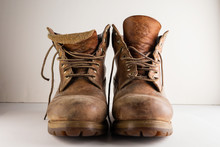 Old Leather Brown Boots Isolat...