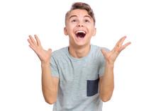 Portrait Of Teen Boy Raised Ha...