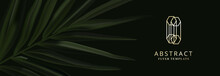 Dark Palm Leaves Plant, Realistic Vector On Black Background. Wide Horizontal Banner. Realistic Vector Tropical Advertising Illustration, Palnt On Header With Golden Logo Branding Design