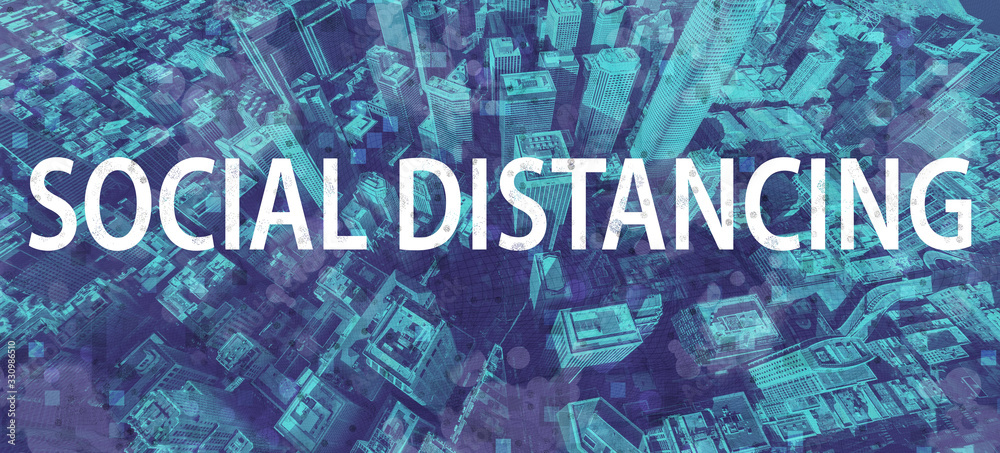 Fototapeta Social Distancing theme with aerial cityscape background