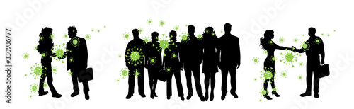 Obraz Vector silhouette of group of people who is spreading bacteria on white background. Symbol of disease and coronavirus. - fototapety do salonu