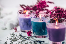 Aromatic Purple And Blue Scented Candles With Lavender Decoration