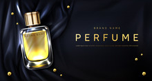Perfume Bottle On Black Silk F...