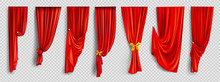 Red Window Curtains Set, Folde...