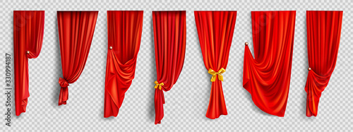 Obraz Red window curtains set, folded cloth for interior decoration realistic vector isolated on transparent background. Soft scarlet clear material, fabric drapery of different form golden pin illustration - fototapety do salonu