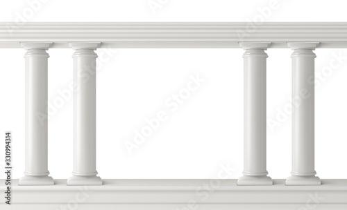 Antique columns, stone pillars frame balustrade isolated Wallpaper Mural