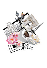 Design From Paris Illustrations With Fashion Girls, Flowers, Cafes. Vector Illustration.