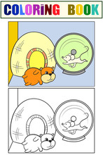 Terrarium For Rodents. The Hamster And Mouse Are Playing. Set Of Coloring Book And Color Picture.