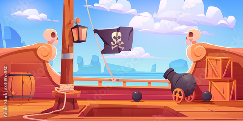 Vászonkép Pirate ship wooden deck onboard view, boat with cannon, wood boxes and barrel, h