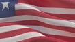 Waving flags of the world - flag of Liberia. 3D illustration.