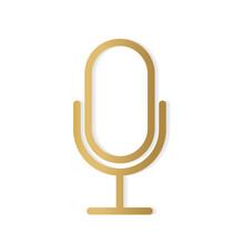 Golden Microphone Icon- Vector Illustration