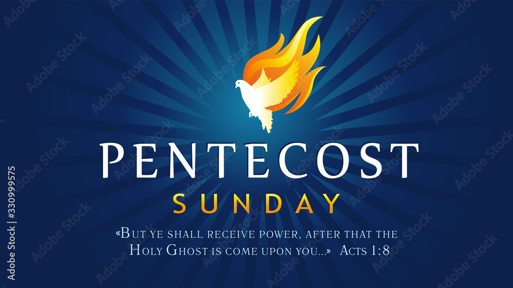 Fototapeta Pentecost Sunday banner with Holy Spirit in flame. Template invitation for Pentecost day with dove in tongues fire and text Acts 1:8. Vector illustration