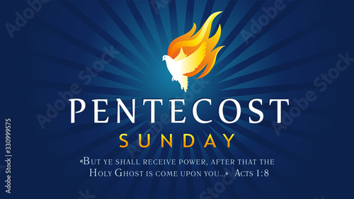 Fototapeta Pentecost Sunday banner with Holy Spirit in flame. Template invitation for Pentecost day with dove in tongues fire and text Acts 1:8. Vector illustration obraz