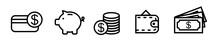 Set Of Money Icons. Purse, Vis...