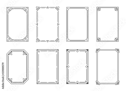 Fototapety, obrazy: Decorative frames set. Vercor calligraphic frames on a white background. Decorative wedding frames, vintage rectangular ornaments. Decorated border. Vector illustration
