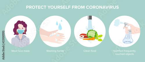 Corona virus 2019 prevention infographic. Vector Illustration Wallpaper Mural