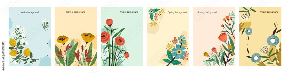 Fototapeta Collection of colorful natural spring backgrounds. Elegant floral backdrop set with a place for text. Vertical poster or flyer with blooming flowers and leaves. Vector textured illustration.