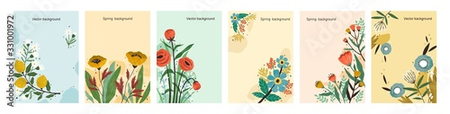 Fototapeta Collection of colorful natural spring backgrounds. Elegant floral backdrop set with a place for text. Vertical poster or flyer with blooming flowers and leaves. Vector textured illustration. obraz
