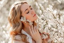 Pretty Woman In Spring Blossom...