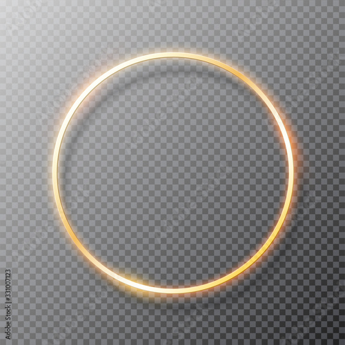 Fototapeta Golden glowing round frame with shadows isolated on transparent background. Vector illustration obraz na płótnie