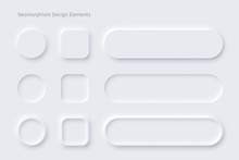 Vector Neomorphism Design White Buttons Or Slider
