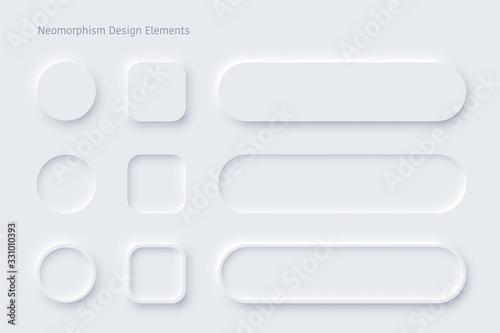 Fotomural Vector neomorphism design white buttons or slider
