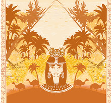 Retro Frame With Egyptian Queen