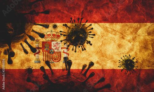 Coronavirus against Spain grunge flag. Virus causing epidemic Canvas Print