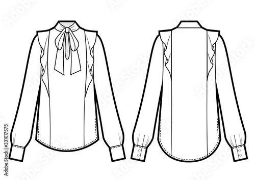 Vector illustration of women's tie neck blouse. Front and back Canvas Print