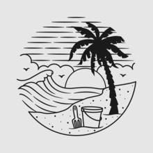 Vacation Summer Beach Vintage Vector Line Art Illustration
