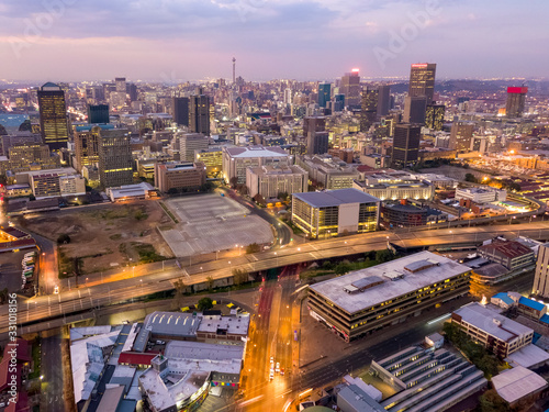 Aerial view of downtown of Johannesburg, South Africa