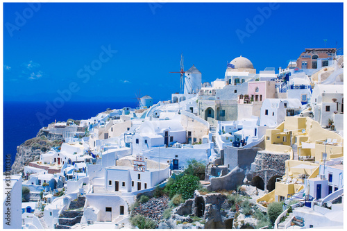 Fototapeta greek church in santorini greece obraz