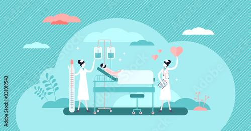 Photo Nursing hospital stuff concept, flat tiny persons vector illustration