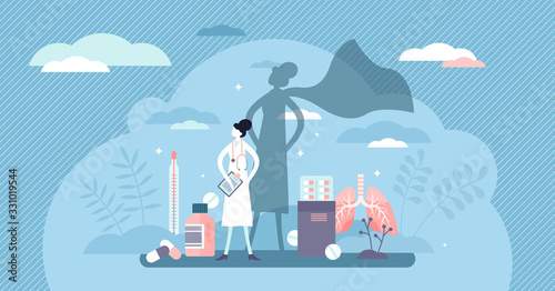 Fotografía Nurse super hero concept, flat tiny person vector illustration