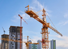 Construction Tower Cranes On A...