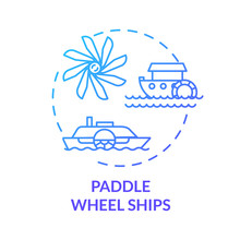 Paddle Wheel Ship Blue Concept Icon. Vintage Steamship. Retro River Boat. Steamer Ship. Water Vessel. Steamboat Idea Thin Line Illustration. Vector Isolated Outline RGB Color Drawing