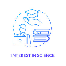 Interest In Science Blue Concept Icon. Student Curiosity In Studying. Academic Education. Scientific Literacy Idea Thin Line Illustration. Vector Isolated Outline RGB Color Drawing