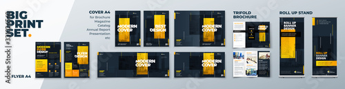 Fototapeta Corporate Identity Print Template Set of Brochure cover, flyer, tri fold, report, catalog, roll up banner. Branding design. Business stationery background design collection. obraz