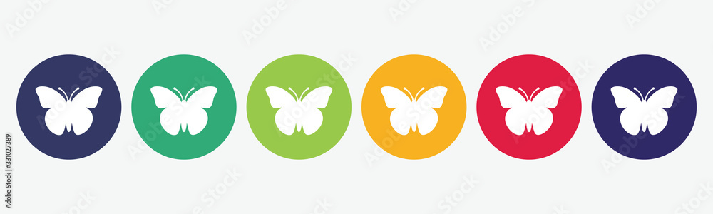 Fototapeta Vector set butterfly icon.