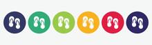 Circles 6 Buttons. Flip Flop Icons.