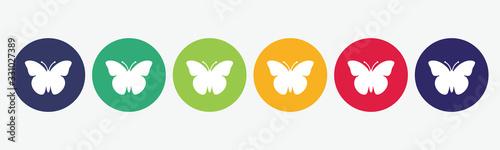Fotografie, Obraz Vector set butterfly icon.