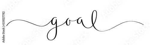 Fototapety, obrazy: GOAL black vector brush calligraphy banner with swashes