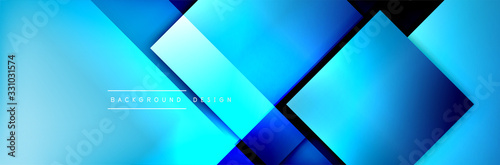 Fototapeta Square shapes composition geometric abstract background. 3D shadow effects and fluid gradients. Modern overlapping forms obraz