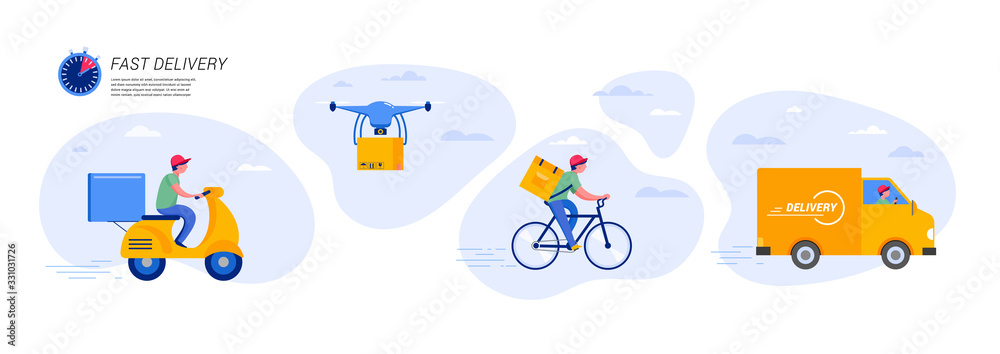 Fototapeta Online delivery service concept, online order tracking, delivery home and office. Warehouse, truck, drone, scooter and bicycle courier, delivery man. Vector illustration