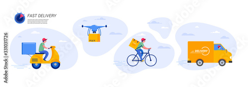 Obraz Online delivery service concept, online order tracking, delivery home and office. Warehouse, truck, drone, scooter and bicycle courier, delivery man. Vector illustration - fototapety do salonu